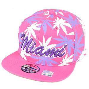 ed73e7a1973 Miami Florida Sunshine State Marijuana Pink Weed Leaf Snapback Flat ...