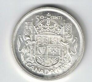 CANADA-1955-50-CENTS-HALF-DOLLAR-QUEEN-ELIZABETH-II-800-SILVER-COIN