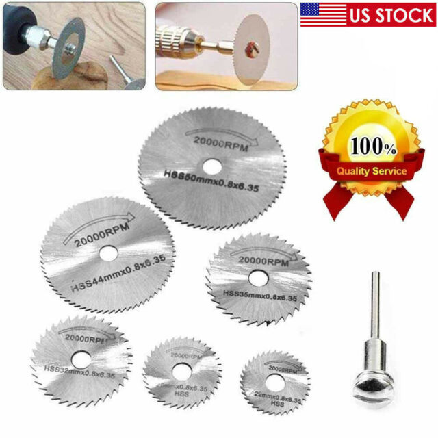 7Pcs Wheel Cutting Blades 22-50mm HSS Saw Disc For Dremel Drills Rotary Tools