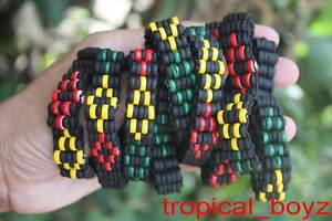 10 Diamond RASTA Black Coconut Shell Wood Wooden Stretchy Bracelets Wholesale