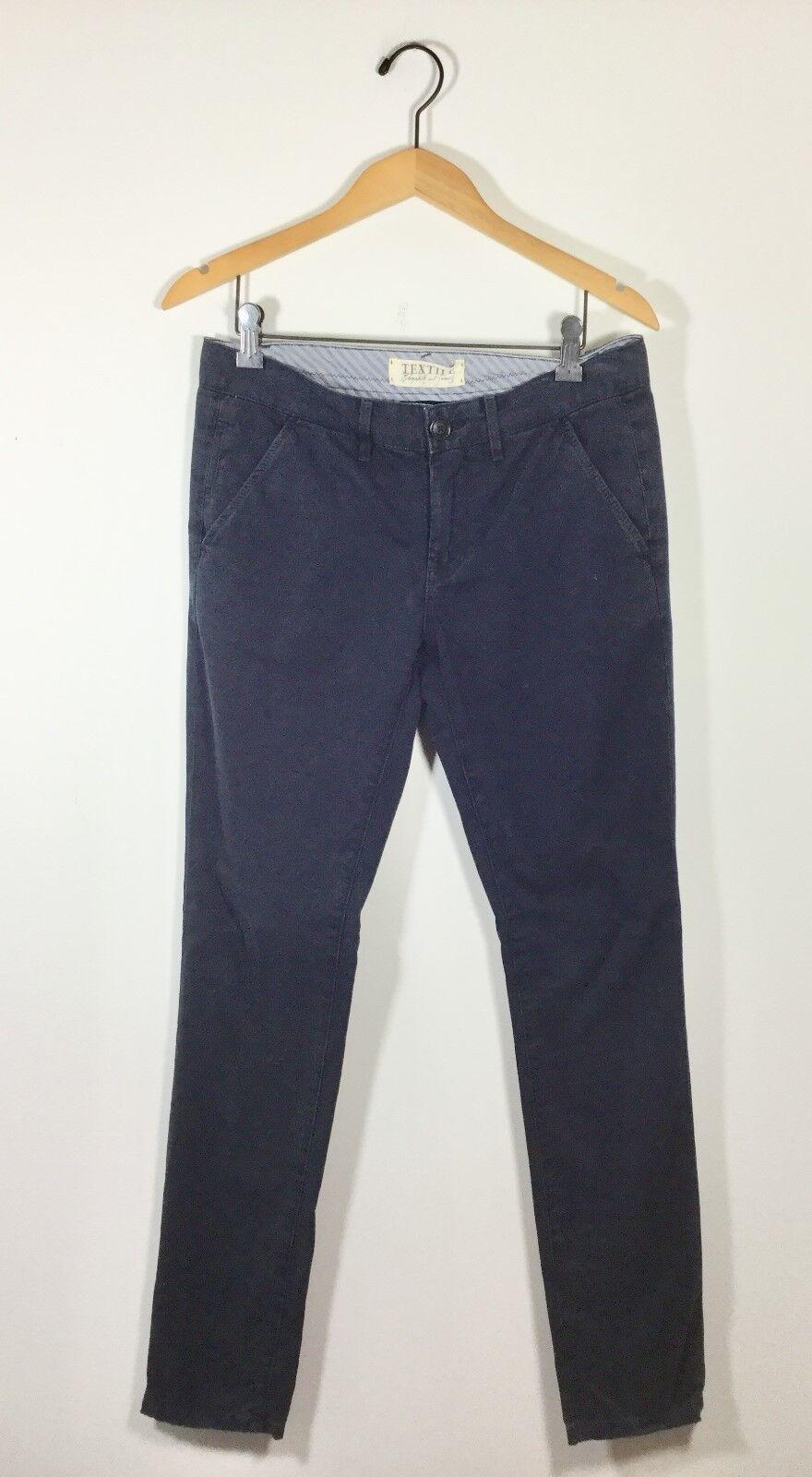 NWT  195 ELIZABETH & JAMES TEXTILE Navy Cotton Skinny Pant Größe 25
