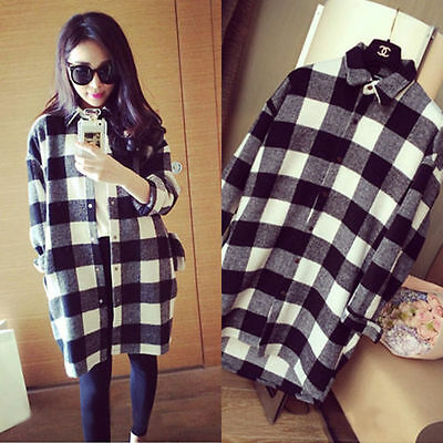 FREE P&P New Check&Plaid Long Top Blouse Shirt Kaftan Cardigan Loose Mini Dress
