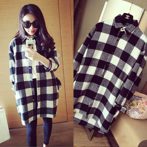 Fashion Women Oversize Black White Plaid Collared Button Down Shirt Blouse Tops