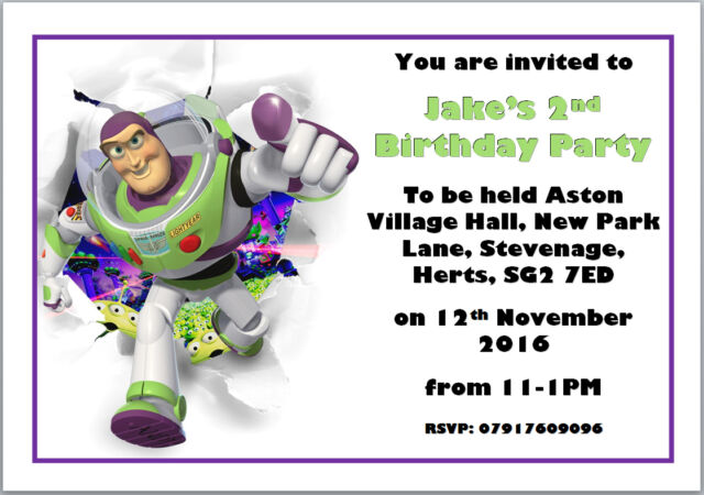 10 Buzz Lightyear Toy Story Birthday Invitations With Envelopes A6