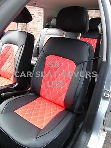 Full Set RED//BLACK Leather Look Car Seat Covers Peugeot Bipper Tepee