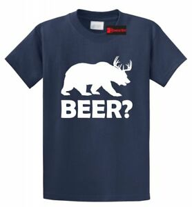 BEER-Deer-Bear-Funny-T-Shirt-College-Alcohol-Funny-Party-Drinking-Hunt-New