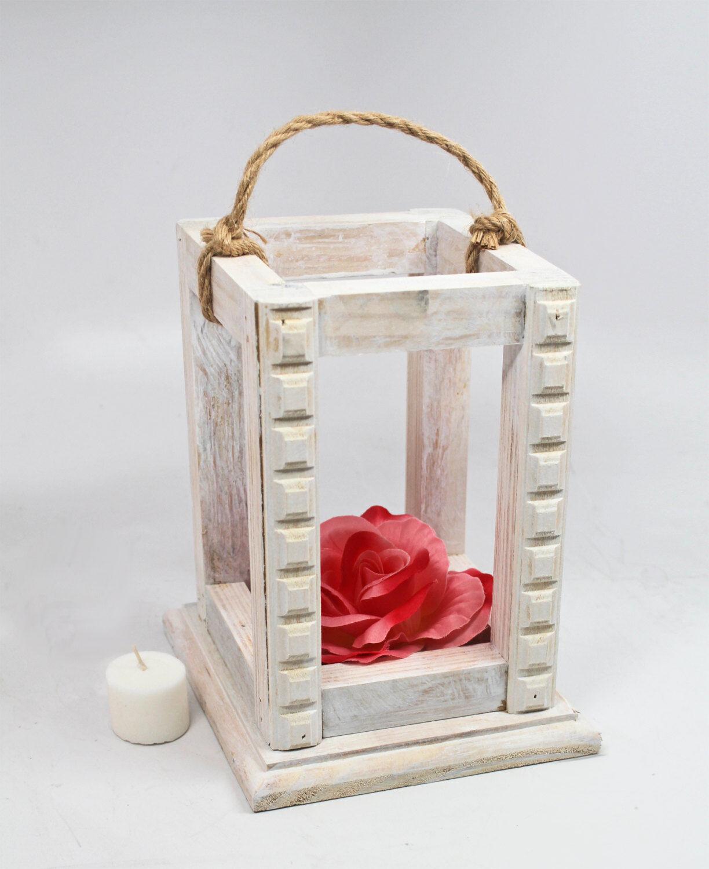 White Wedding Lantern Centerpiece, Rustic White Washed Lantern, Jute, Candle...