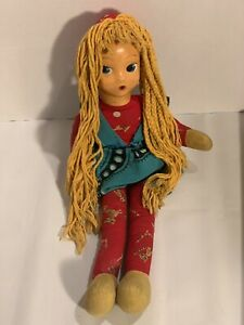 Vintage-Cloth-Doll-With-Plastic-Face-and-Yarn-Hair-18-Mid-Century-Kitsch