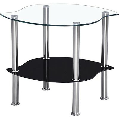 Coffee Table OR Lamp Table In Clear and Black Glass With Chrome Legs
