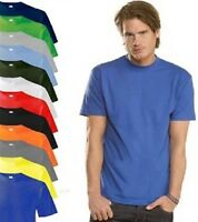 Mens Plain Cotton BLACK BLUE YELLOW GREEN RED GREY YELLOW ORANGE Tee T-Shirt