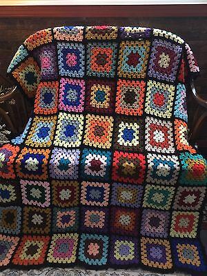 Estate Fresh Granny Square Hand Crocheted Afghan Throw Bedspread Blanket 50x70
