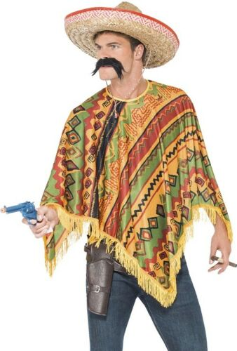 Poncho /& Moustache Western Mexican Set in Multi Colours Aztec Design Fancy Dress