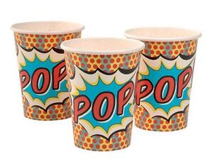 Pop-Art-Superhero-Party-Cups-Pack-of-8