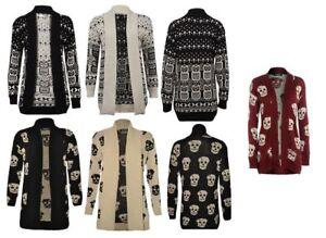 Details about Ladies Owl Halloween Skull Print Open Cardigan Knitted LongSleeve Jumper UK 8 22
