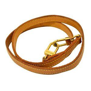 Authentic-Louis-Vuitton-Leather-Shoulder-Strap-Bag-Beige-Gold-France-98-cm