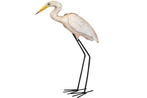 KYNAST Garten Dekofigur LANGSTELZE Vogel weiss 84 cm Metall Deko Figur Garten