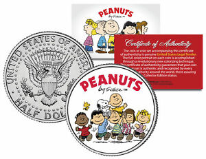 Peanuts-034-Original-Gang-w-Franklin-034-JFK-Half-Dollar-U-S-Coin-Licensed