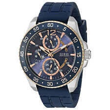 NEW GUESS WATCH Men * Blue/Rose Gold/Silver Case * Blue Silicone Strap * U0798G2