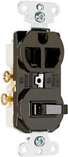 Combo Switch Amp Outlet 2 Pole 3 Wire Grounding Brown 15 Amp 125 Volt 691