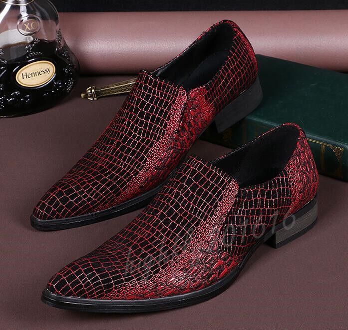 Herren Schuhe Businessschuhe Slipper Elegant Wenrot Spitz Hochzeit Party 37-46