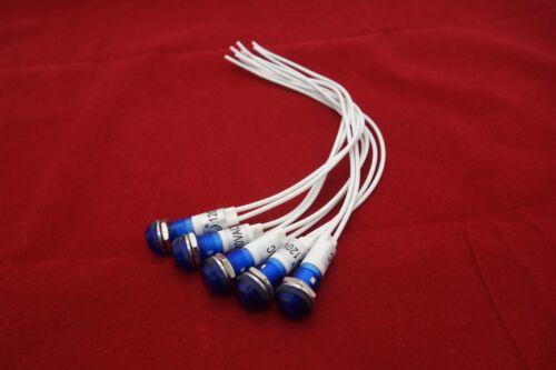 5 Pcs 120V AC//DC 10mm Blue Panel Mounting LED Indication Signal Pilot Lights