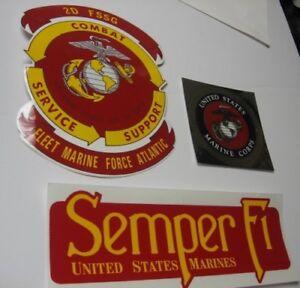 3-LOT-USMC-Stickers-Decals-2d-FSSG-Fleet-Marine-Force-Atlantic-Gold-amp-Semper-Fi