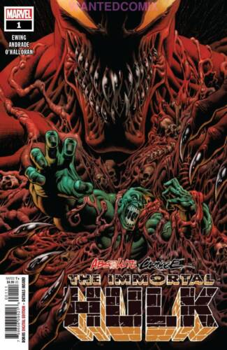 ABSOLUTE CARNAGE IMMORTAL HULK #1 AC AL EWING MARVEL SOLD OUT COMIC BOOK NEW