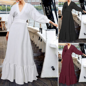 Elegant-Femme-Casual-Manche-Longue-Col-V-Couture-Plisse-Flowy-Dresse-Robe-Maxi