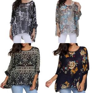 Summer-Women-Loose-T-shirt-Thin-Chiffon-Floral-Printed-Dolman-Sleeve-Top-Blouses