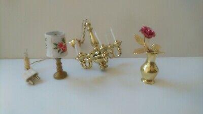 1:12 Puppenhaus Modell Miniature Kristall Lampe Geschenk Spielzeug 14x2.1cm