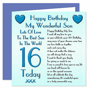 my wonderful son lots of love happy birthday card age range 16
