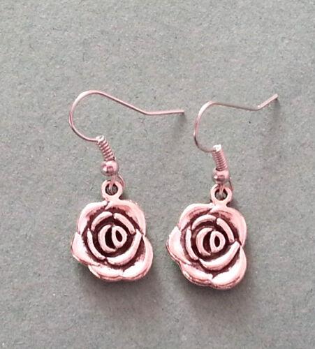 Plata Tibetana English Rose encanto pendientes-Bolsa De Regalo Opcional-Reino Unido Vendedor
