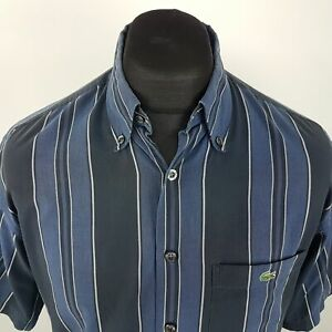 Lacoste-Mens-Vintage-Shirt-MEDIUM-Short-Sleeve-Blue-Regular-Fit-Striped-Cotton
