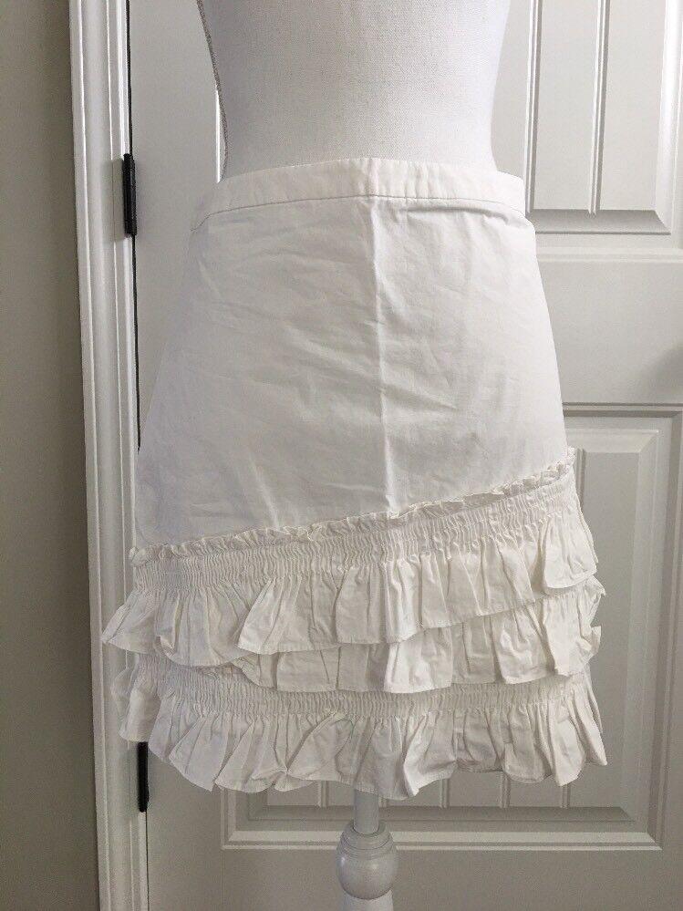 New J Crew Ruffle Skirt in Cotton-poplin White Sz 0 H6130