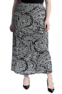 GüNstiger Verkauf Neue Frauen Übergröße Rock Damen Maxi Stil Paisley Druck Elastische Taille Sale Ausgezeichnet Im Kisseneffekt