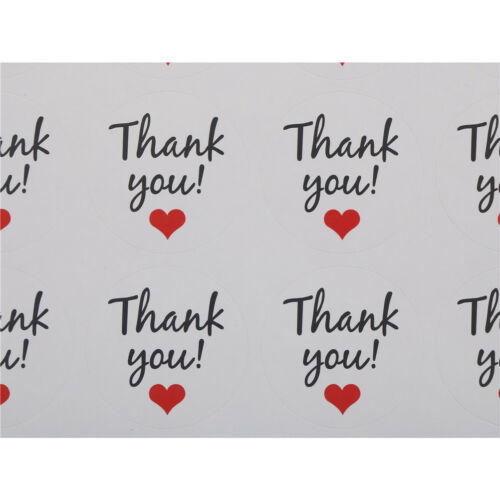 UK/_120X//10sheets Round white Thank you Sealing Sticker Red Heart handma ox