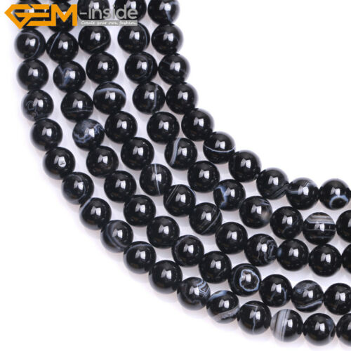 """Natural Round Black Agate Banded Strip Stone Beads For Jewelry Making 15/"""" In Lot"""