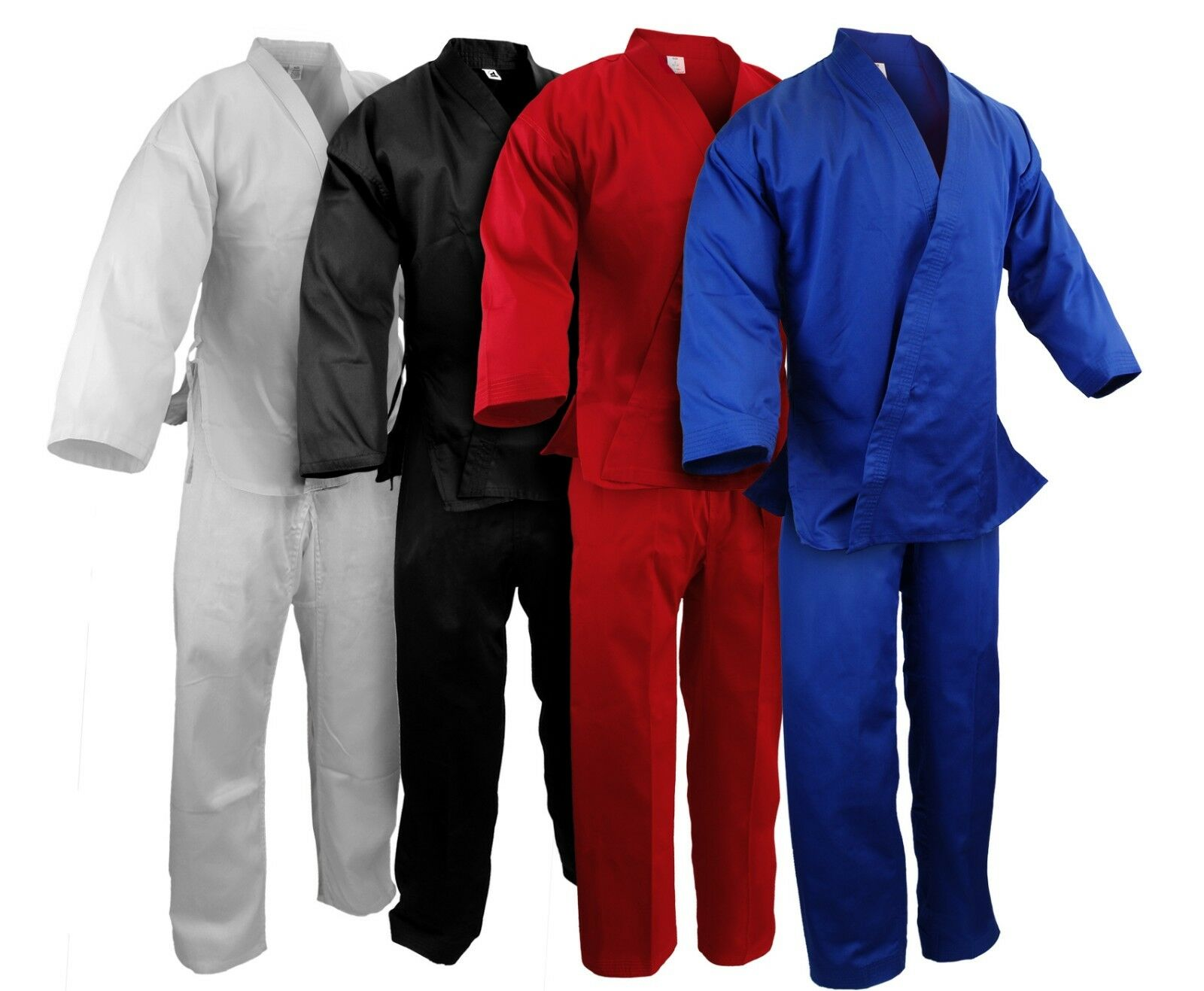 New Martial Arts Karate 7.5 oz Gi Uniform w White Belt WH BK RED blueeE,