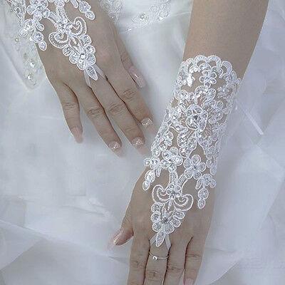 Banquet Party Fingerless Lace Short Paragraph Rhinestone Bridal Wedding Gloves