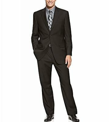 IZOD 36S Mens Solid Black Two Button Single Vent Two Piece Suit