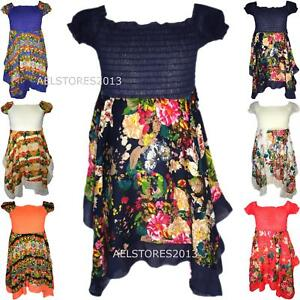 Filles-Paisley-Floral-Hanky-manches-courtes-Mouchoir-ourlet-robe-Sun-3-10-ans
