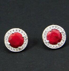 Solid-925-Sterling-Silver-Jewelry-Ruby-Gemstone-Stud-Daily-Wear-Women-039-s-Earring