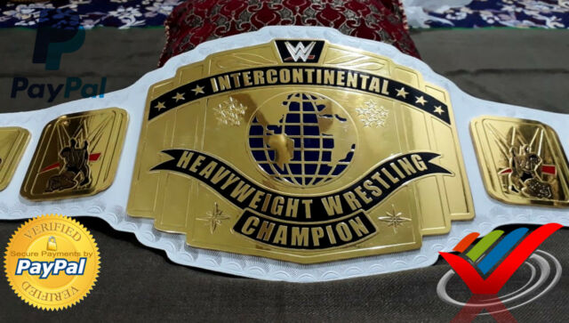 WWE WHITE INTERCONTINENTAL HEAVY-WEIGHT WRESTLING CHAMPION BELT WITH FREE CASE.