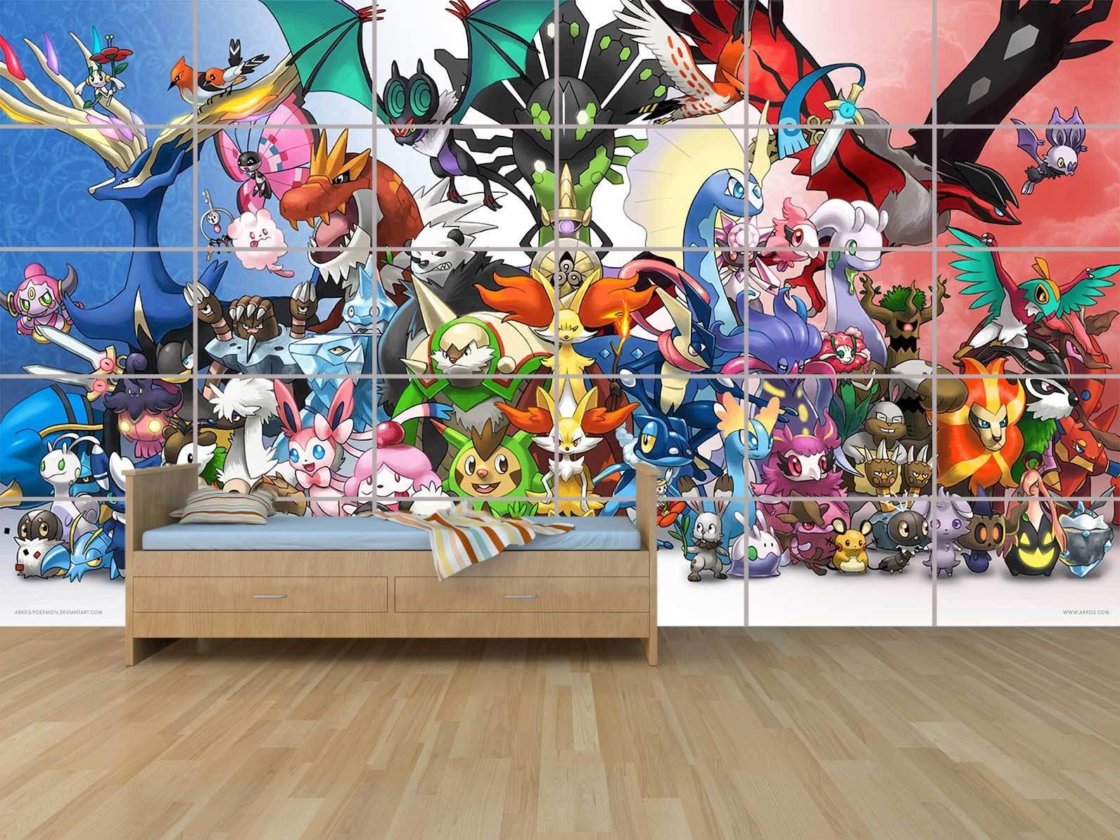 Pokemon Characters Todos Personajes Gigante Cartel Poster Habitación Niños
