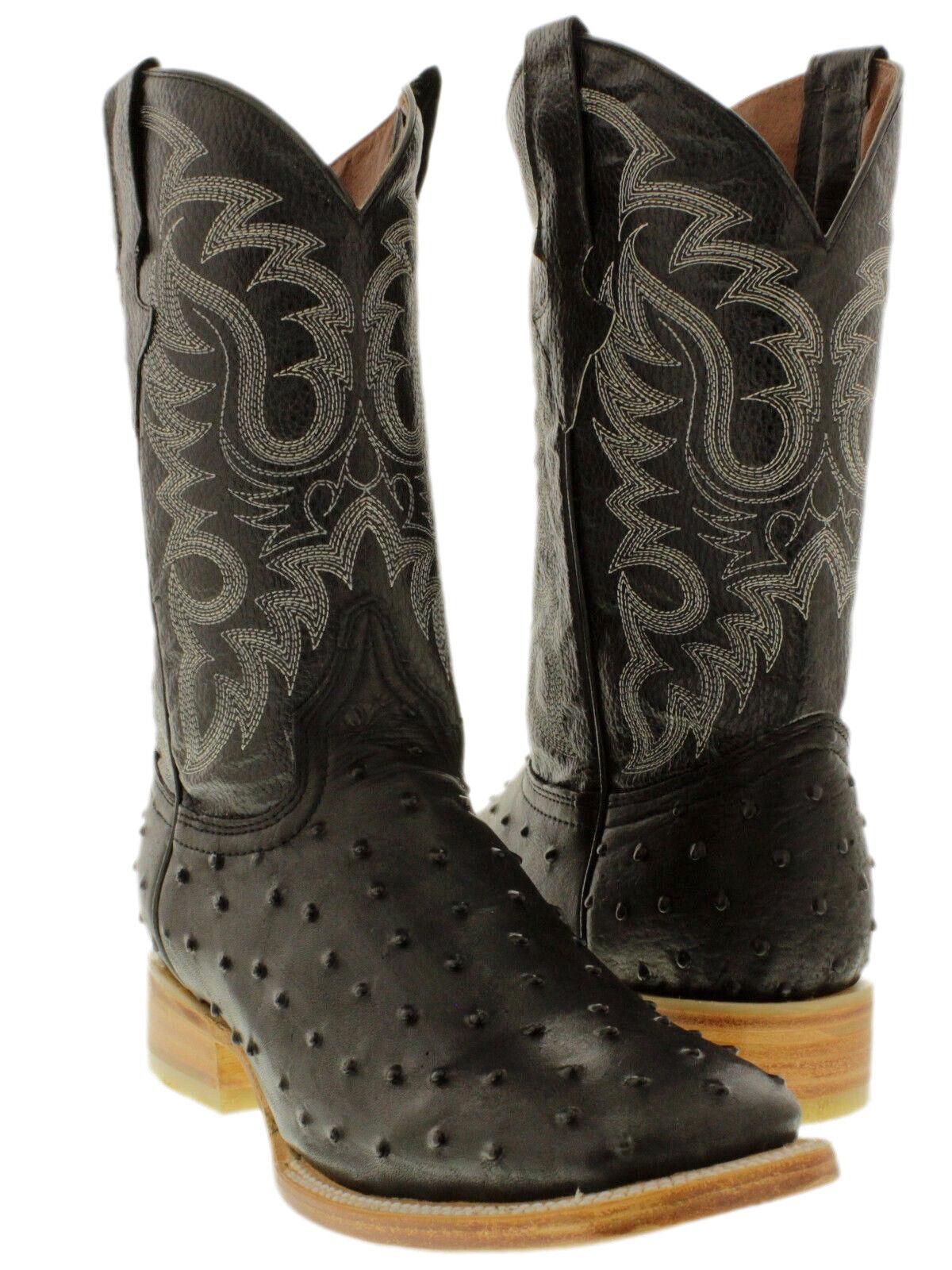 Para hombres Cuero Negro Diseño Avestruz Pluma botas de vaquero occidental Cocodrilo Cuadrado