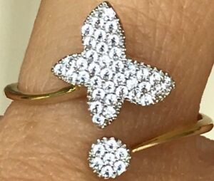 GOLD-14k-butterfly-ring-simulated-Diamond-7-5-6-7-8-9-1-9g