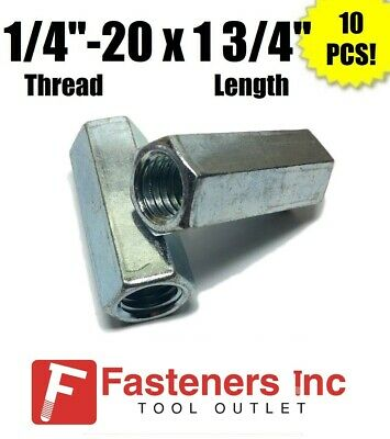 "#10-24 x W5//16/"" x L3//4/"" Coarse Grade A Hex Rod Coupling Nut Zinc Plated"