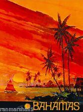 Bahamas Sunset Caribbean Islands Beach Vintage Travel Advertisement Poster