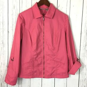 Chico-s-Jacket-Coral-Nylon-Stretch-Zip-Front-Size-M-Chicos-1-Pockets-Pink