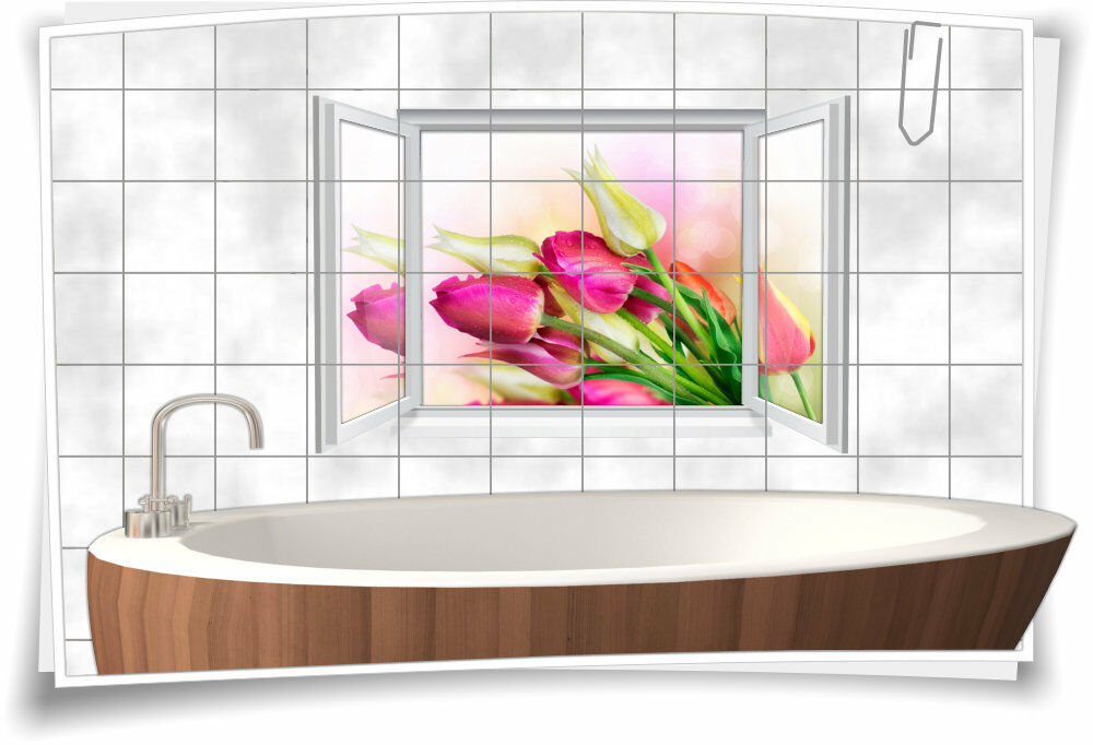 Fliesenaufkleber Fliesenbild Fliesen Aufkleber Tulpen Blaumen Bunt Küche Bad Deko